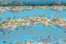 Šifon aqua N5493, květinový raport, š.145