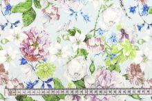 Šatovka SILKY ledově modrá, květinový mix, š.145