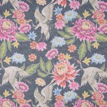 Úplet šedo-modré melé, barevný květ, pták, š.150