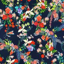 Úplet tmavomodrý 19801, farebný kvet, š.150