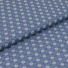 Bavlněné plátno denimová modř, bílý květ, š.140