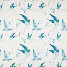 Úplet 21773 bílý, aqua ptáci, š.145