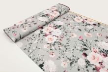 Šatovka SILKY šedá, růžové květy, š.145