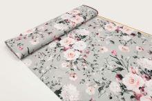 Šatovka SILKY sivá, ružové kvety, š.145