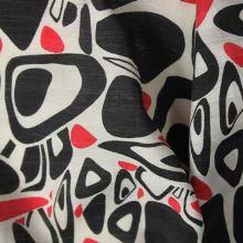 Košeľovina červenočernobílá š.150