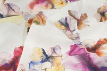 Šatovka bílá, barevný květinový vzor, š.145