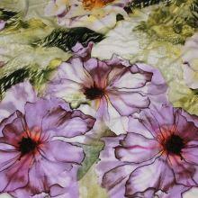Úplet zelený, fialový květ, š.150