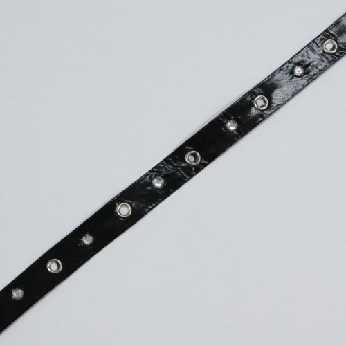 Pásek černý latexový s kamínky