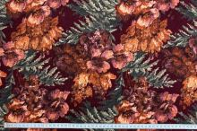 Samet 06669 bordó, barevný květ, š.140