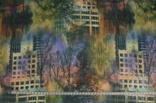 Šifón farebný, stromy a domy š.150