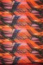Satén červený, fialovo-čierne prúžky, š.145