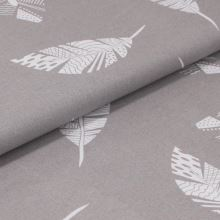 Bavlněné plátno šedé, bílá pírka, š.160