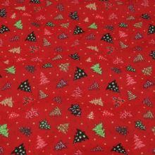 Bavlněné plátno červené, vánoční stromečky, š.140
