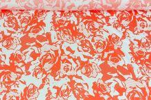 Šatovka biela 11348, oranžový vzor, š.150