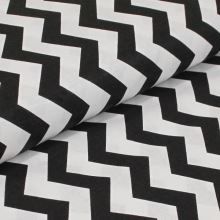 Bavlněné plátno černobílý zig-zag, š.160