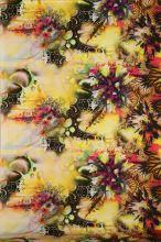 Satén žltý s motívom vínových kvetín, š.145
