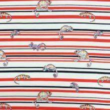 Teplákovina nepočesaná bílá, červeno-černé pruhy, chameleoni, š.150
