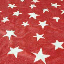 Fleece červený, biele hviezdy, š.150