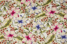 Šatovka 21645 biela, farebné ibištekové kvety, š.140