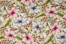 Šatovka 21645 bílá, barevné ibiškové květy, š.140