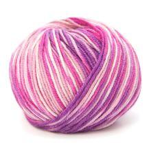 Příze HOLLIE PRINT 50g, tmavě růžovobílý melír - odstín 568