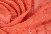 Šifón lososový, výšivka s flitrami, š.150