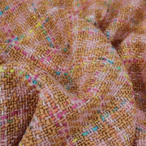 Kostýmovka ružovo-hnedá, farebné káro š.145