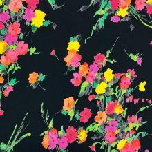 Teplákovina nepočesaná čierna, farebné kvety, š.145