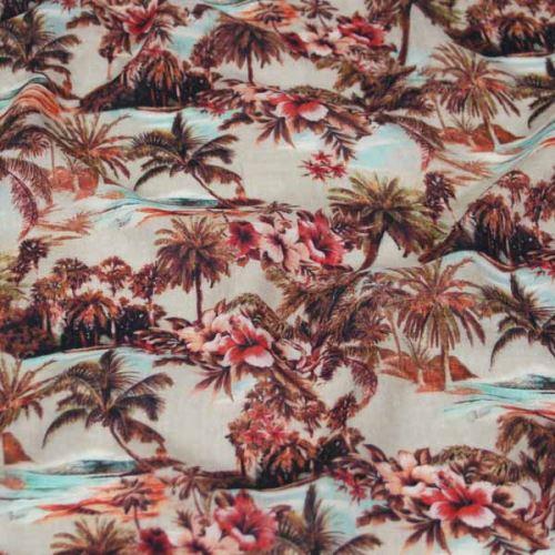 Šatovka, hnedý palmový vzor, š.135