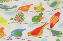 Bavlna biela, motív farebné vtáky, š.140