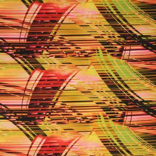 Satén žltý, ružovo-čierne prúžky, š.145