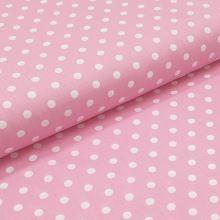 Bavlněné plátno světle růžové, bílé puntíky, š.140