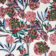 Úplet bílý, barevné květy a listy, š.150