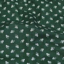 Bavlna lahvově zelená, bílý květ š.140