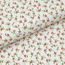 Bavlnené plátno biele, červené drobné kvety, š.140