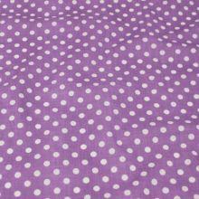 Bavlna fialová, bílý puntík, š.160