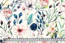 Šatovka SILKY bílá, luční květy, š.145