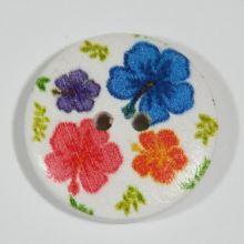 Knoflík dřevěný bílý, barevné květy, průměr 25 mm