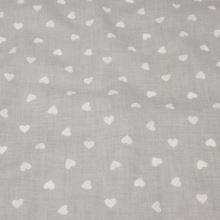 Bavlna šedá, bílá srdíčka, š.160