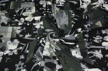 Úplet khaki 16756, čiernobiely kvet š.150
