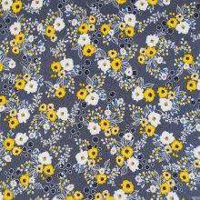 Úplet modrý, biele bodky, žlto-biele kvety, š.150