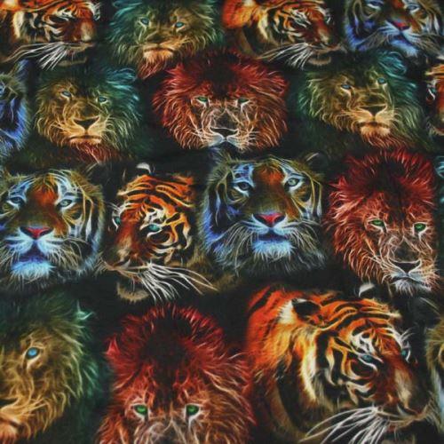 Úplet barevný, lev a tygr, š.160