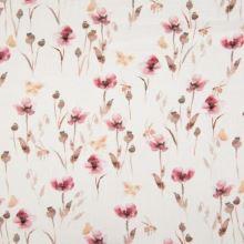 Mušelín, dvojitá gázovina biela, kvetinový vzor a makovice, š.135