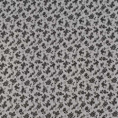 Košeľovina bieločierná pruh, čierne kytky š.130
