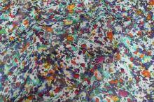 Šifon bílý 16633, barevný květ š.145
