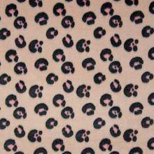 Fleece púdrový, ružovo-sivý zvierací vzor, š.145