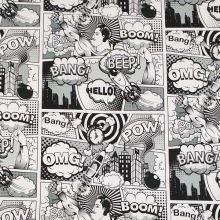 Teplákovina nepočesaná čierno-biely komiks, š.175