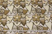 Bavlna bílo-hnědá, hnědé kytky a srdíčka, š.140