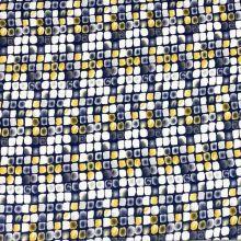 Úplet modrý, žluté a bílé čtverce, š.150