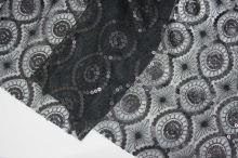 Flitre ornament cirkle, čierne, š.140
